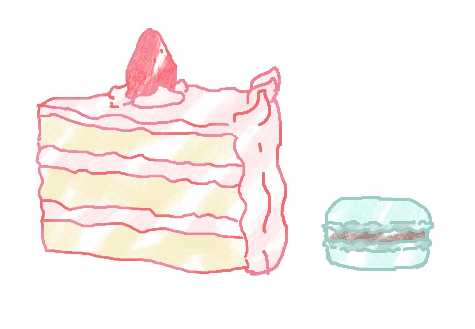 케이크와 마카롱 사진