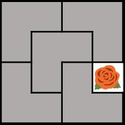 두 번째 예시의 최초의 건물과 꽃밭의 배치